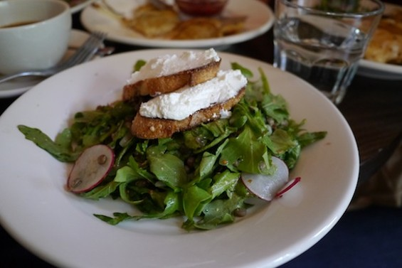 Warm Lentil Salad, with shallots, radishes and goat cheese toasts