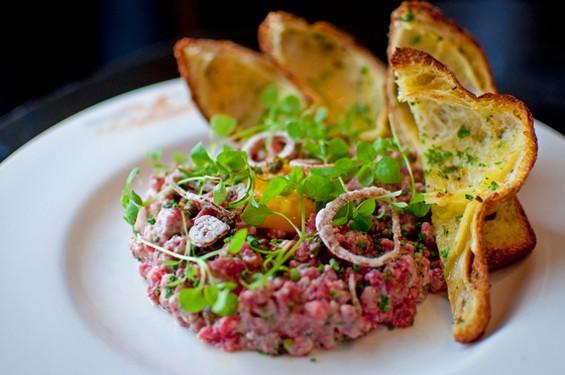 Wayfare Tavern's steak tartare, $16. - GIL RIEGO, JR.
