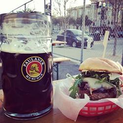 JOSH LESKAR - What's better than a liter of Paulaner? A liter of Paulaner paired with a burger, of course.
