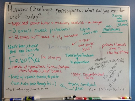 Whiteboard at the S.F. Food Bank displaying everyone's lunches for the week. - ANNA ROTH