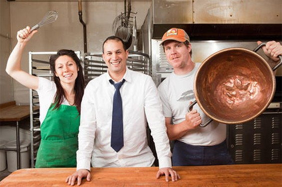 Wholesome Bakery's Mandy Harper with La Victoria's Jaime Maldonado (center) and Soul Cocina's Roger Feely. - KIMBERLY SANDIE