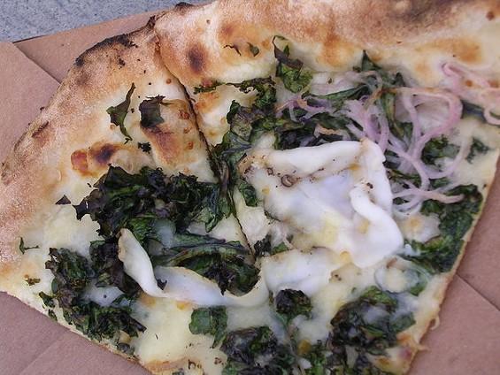 Wilted Dirty Girl kale with house-made lardo, mozzarella, and smoked Provolone, $13. - JOHN BIRDSALL