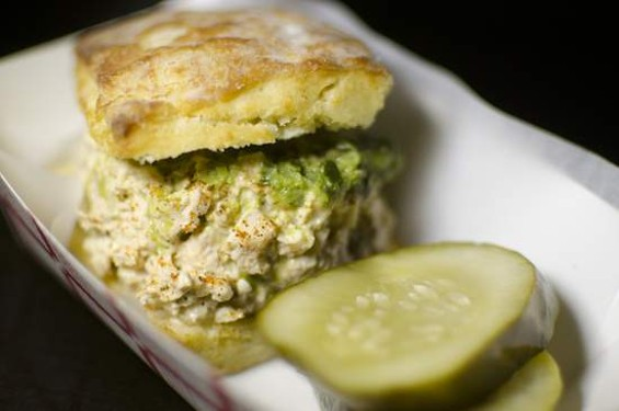 Wing Wings' chicken salad biscuit. - GIL RIEGO JR.