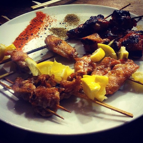 """Wood grilled chicken skewers. Cut up a chicken and skewer EVERYTHING. Wings. Oysters. Thighs. Tails. Skin. Shoulder blades. Neck. Serve with lemon, togorashi, and sansho pepper."" - HTTP://INSTAGRAM.COM/LINECOOK"