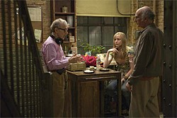 Woody Allen, Nicole Patrick, and Larry David on the set of Whatever Works.