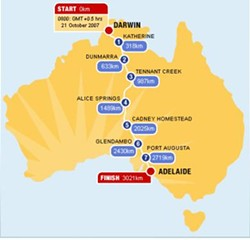 World Solar Challenge route