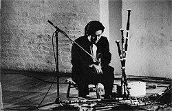 "PHIL NIBLOCK - Yoshi Wada and his ""adapted bagpipe with sympathy II."" Resonating Off the Wall"