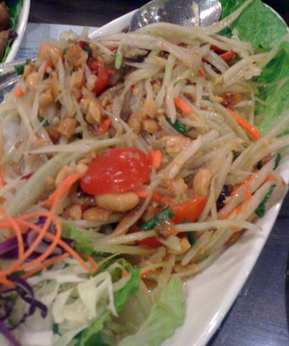 Zaab's papaya salad with peanuts and salted crab, $7.95. - LUIS CHONG