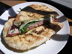 JOHN BIRDSALL - Zero Zero's panouzzo with mortadella, prosciutto cotto, soppressata, Crescenza, and provolone.