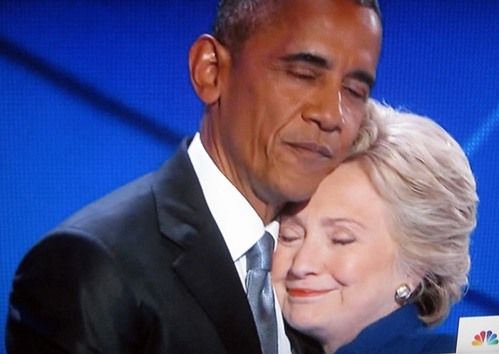 Obama embraces Hillary Clinton