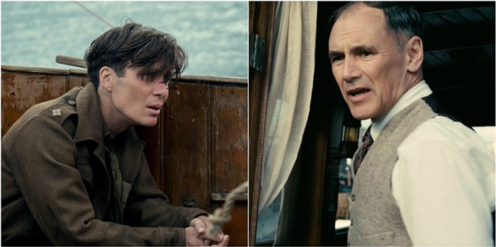 In Dunkirk, Cillian Murphy plays the shell-shocked soldier, and Mark Rylance plays the civilian sailor.