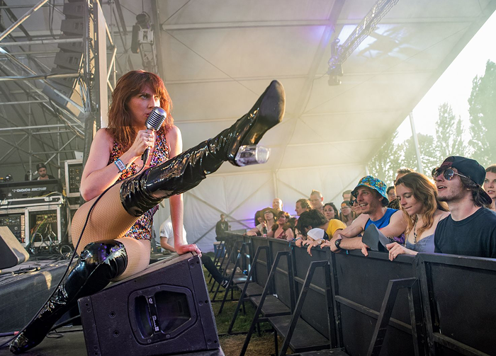 Molly Sides performing with Thunderpussy at a music festival. Obviously music festivals are one of the worst-hurt industries in this crisis.