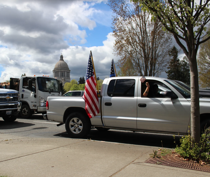 In addition to the protesters on foot, there were vehicles honking incessantly.