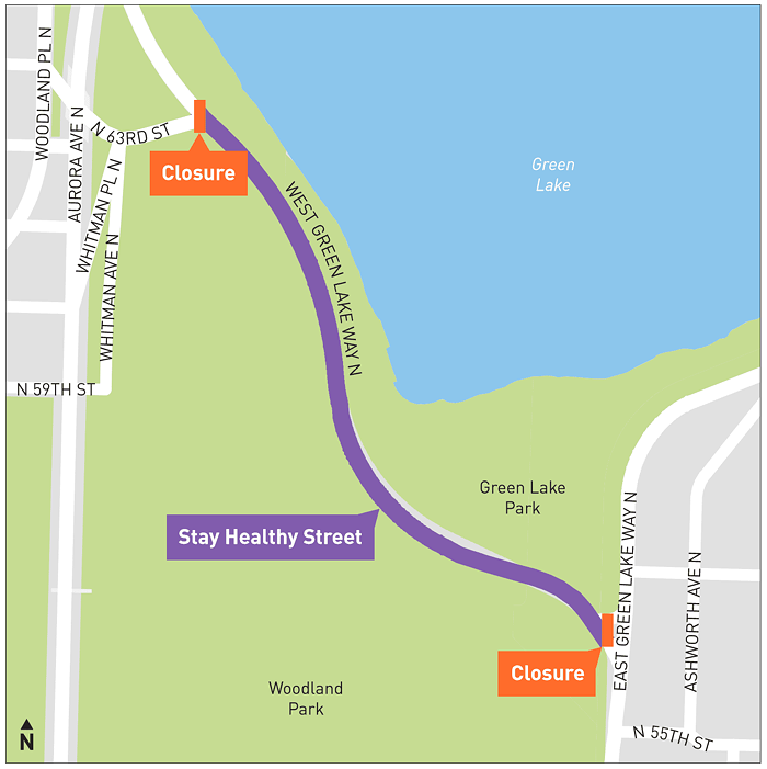 This road closure near Green Lake is part of nine miles of Seattle streets that were opened to human-powered movement over the weekend.