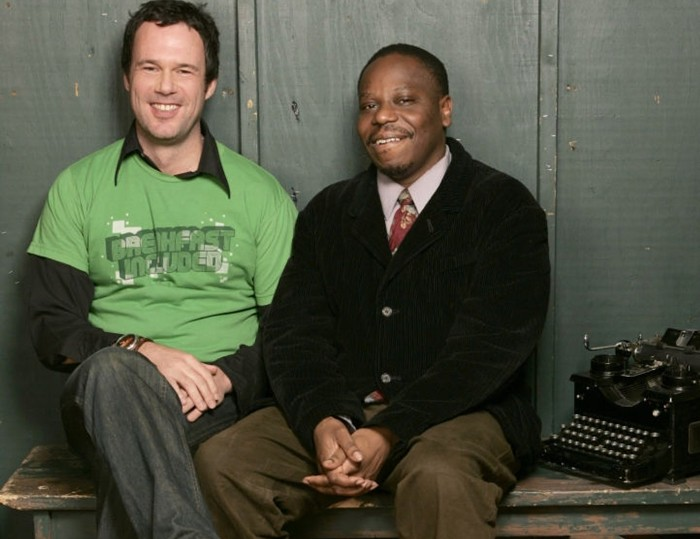 Director Rob Devor, screenwriter Charles Mudede, and a typewriter that surely did not figure into Police Beats creation at Sundance in 2005.
