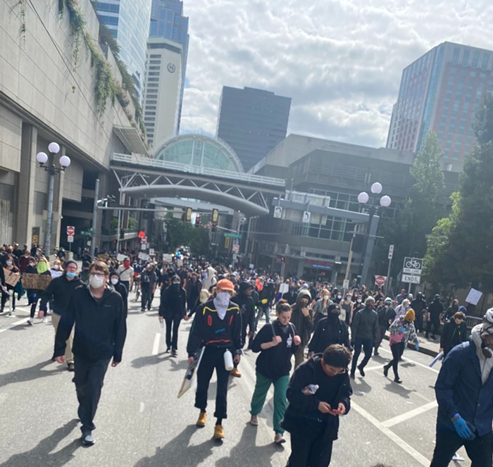 A crowd of around 100 turned into a crowd of over 1,000 marching for Black lives in a third day of protests.