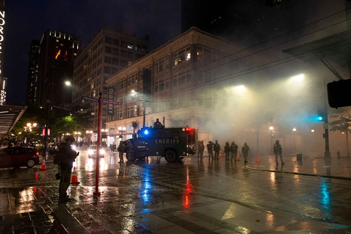 Downtown Seattle during last Saturday nights protests.