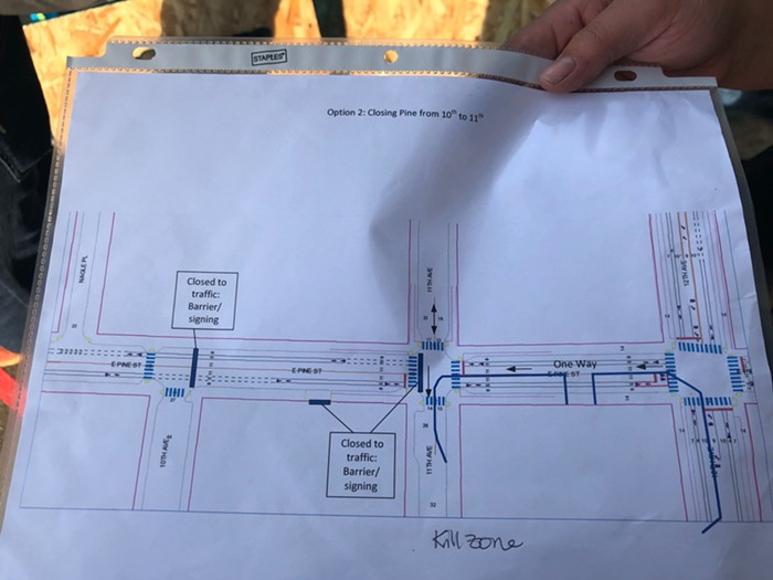 This option allows thru traffic on 11th and 12th Avenues, limiting CHOPs street presence to a block of Pine. As you can tell from her note, Shannon thinks this plan would create a killzone.