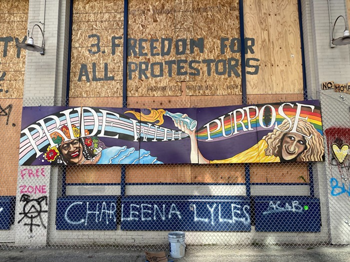 A new Pride mural outside the East Precinct.