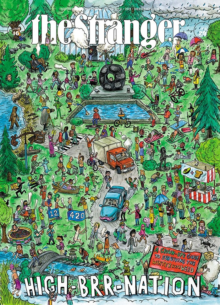 A Wheres Waldo-esque cover for the winter weed issue High-brr-nation in 2019. (Look closely and you can see Charles Mudede smoking a CBD joint.)