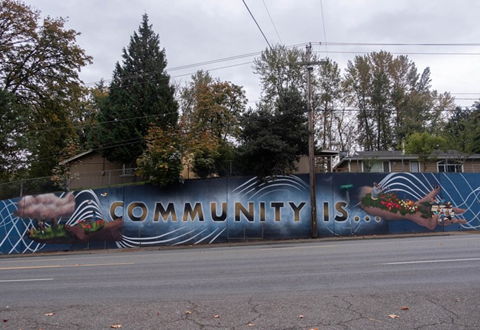 The completed mural where a man pulled a gun on three artists in late September.