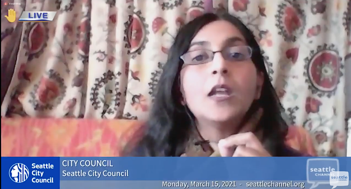 Councilmember Kshama Sawant tried to stop a vote to delay action on her right-to-counsel bill by two weeks.