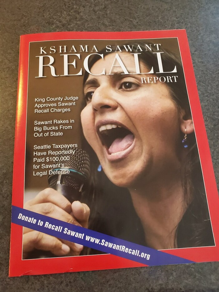 This Recall Sawant mailer from before the Washington State Supreme Court certified the recall is foreshadowing.