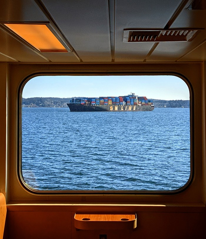 T.S. Eliots prayer for this cargo ship in Eliott Bay:  Lady, whose shrine stands on the promontory, / Pray for all those who are in ships, those / Whose business has to do with fish, and / Those concerned with every lawful traffic / And those who conduct them.