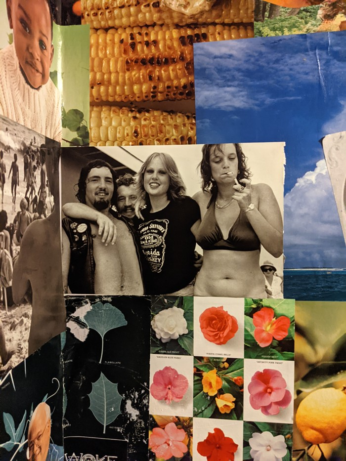 I want to report that this masterpiece of collage art is found in one of the two bathrooms in Saint Johns Bar and Eatery. The images are just mesmerizing.