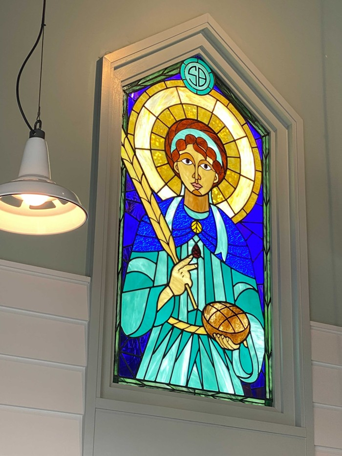 The custom stained glass is from Rick Ashcroft.