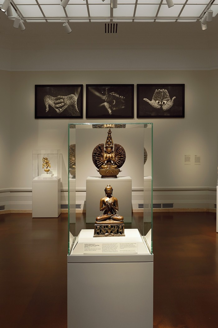 Installation view of Offering and the Guanyin (in the back)