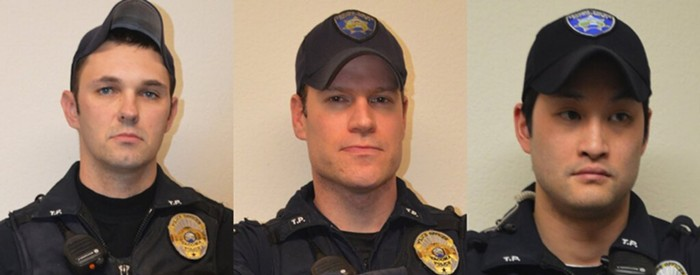 In order,  Tacoma police officers Christopher Burbank, Matthew Collins, and Timothy Rankine.