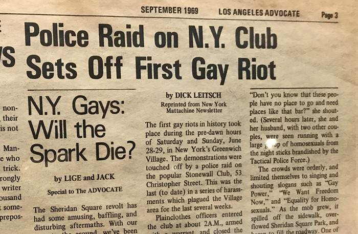 A 1969 article about the Sheridan Square revolt, before the name Stonewall Riots took hold.
