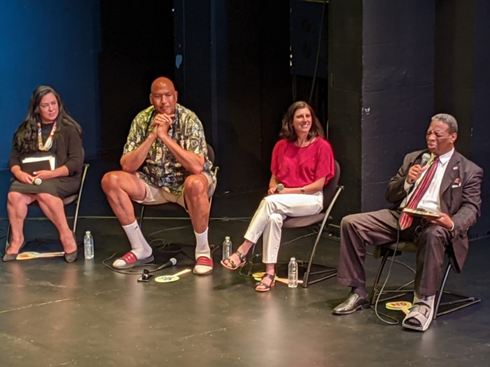 (Left to right) Colleen Echohawk, James Donaldson, Jessyn Farrell and Don L. Rivers.