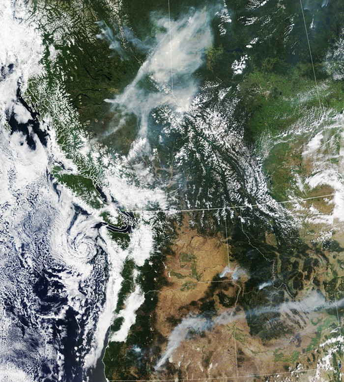 Pacific Northwest fires from space...