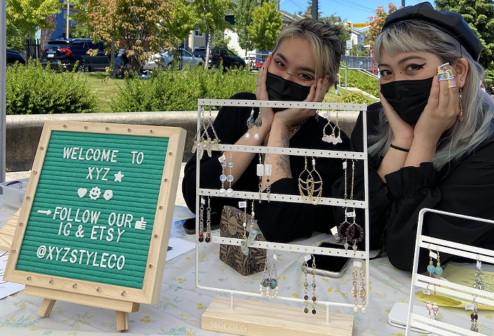 Vendors Mei and Khanh of XYZ Style Co at Junes pop-up market. XYZ will be vending again at Saturdays night market.