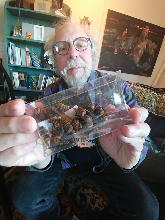David George Gordon, the world-renowned and Seattle-area bug chef, eating giant hornets like they were chips.