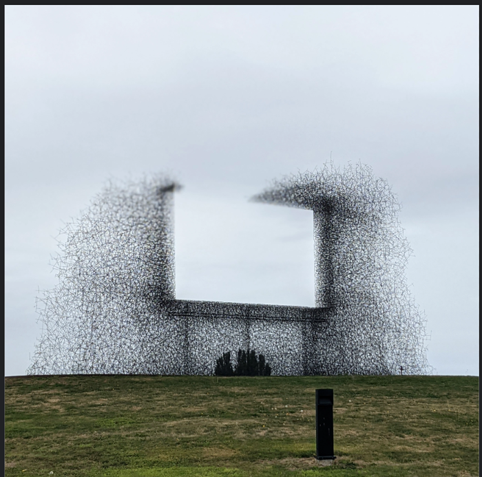 A great work of public art on the border that separates Seattle and Vancouver.
