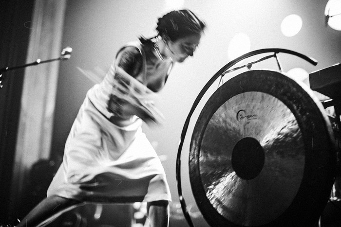Japanese Breakfast started with Paprika, the bombastic opener to their new record, Jubilee. While singing it she was slamming a mallet against a gong every few beats, it was thrilling. Seen here on Jimmy Kimmel.