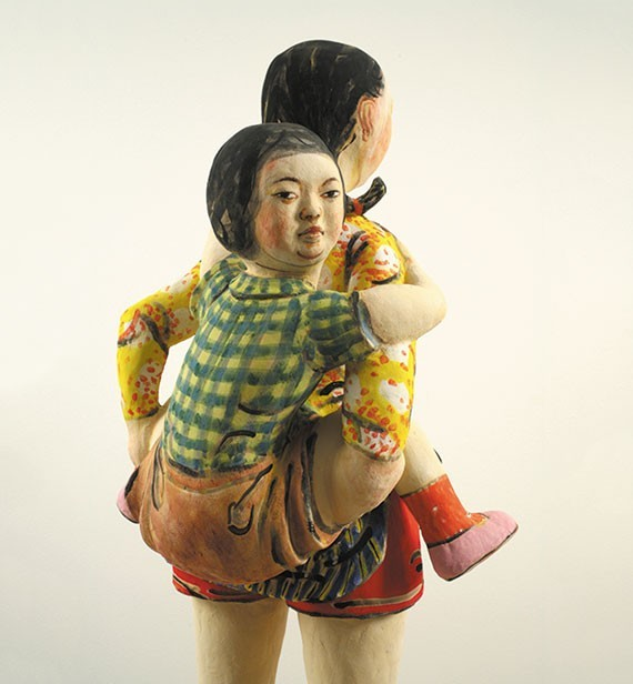 Akio Takamoris 'Girl in Yellow Jacket': Piggybacking, watching you.