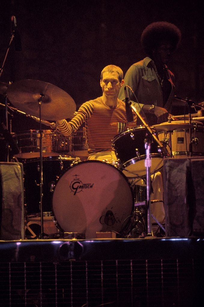 Charlie Watts performing live onstage at the Convention Center in San Antonio in 1975.