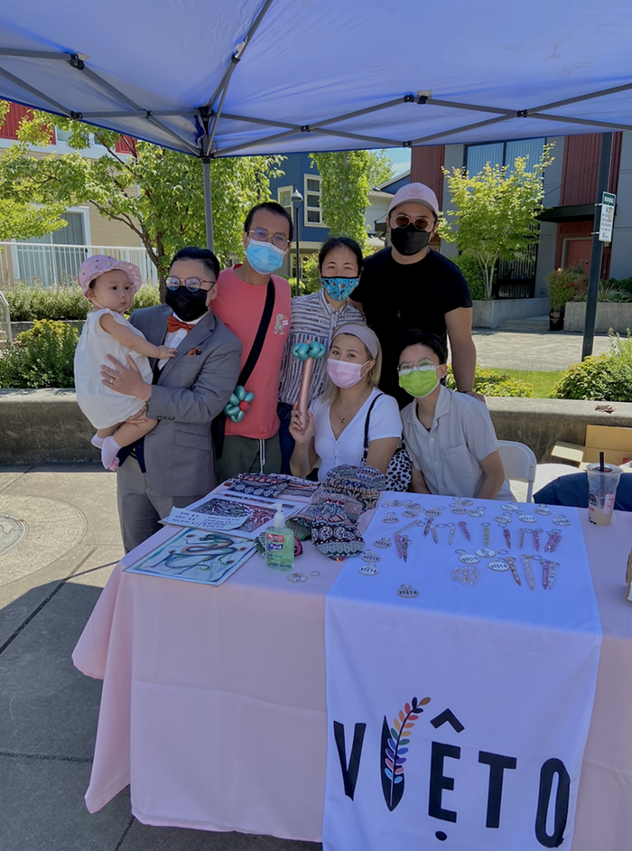 VietQ members at the Queer & Trans Pop-Up Market in June. Top from left to right: Kay Pham, Tony Vo, Dao Tran, Kendy Trinh. Bottom starting from left: Lana Pham, Tran Tonnu.