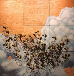 """MATT LIVELY - """"81 Beecycles"""" 96""""x 96"""" Oil on Wood"""