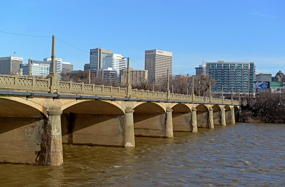 A bridge has spanned the James linking Richmond and Manchester since colonial times. The Mayo Bridge (shown here looking north from Manchester) is European in spirit but was built after Richmond and Manchester merged into one city in 1910. - SCOTT ELMQUIST