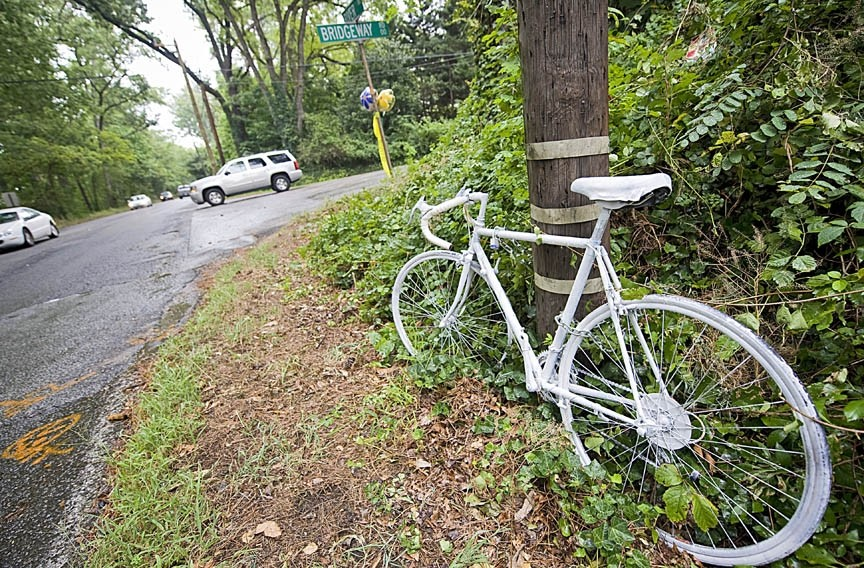 A 'ghost bike' memorializes Lanie Kruszewski on River Road. - (ASH DANIEL)