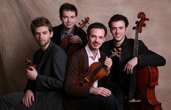 A little knight music: Brooklyn Rider is, from left, Johnny Gandelsman, Nicholas Cords, Colin Jacobsen and Eric Jacobsen.