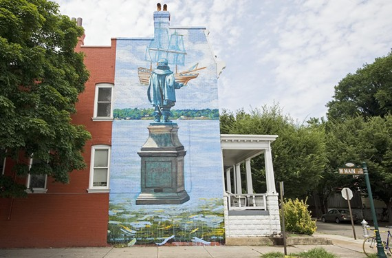 A mural of Capt. John Smith at  Rowland and Main streets sparked a discussion of colonialism and racism last week. - ASH DANIEL
