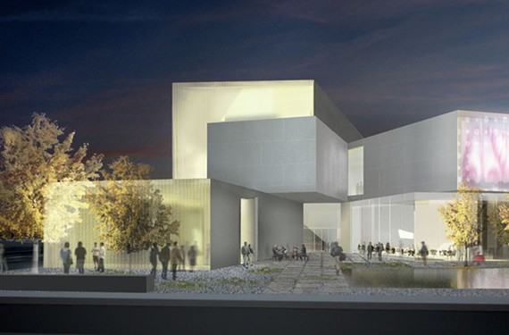 A rendering depicts the Institute for Contemporary Art's exterior and garden. - STEVEN HOLL ARCHITECTS