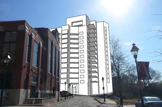 A rendering of the developer's proposal for a high-rise condominium complex at East Cary and Pear streets gives a sense of its height in relation to neighboring buildings along Tobacco Row.