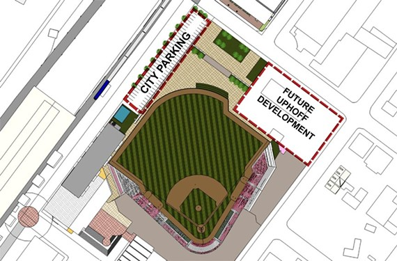 "A rendering of the site plan released by the city shows how the proposed stadium's outfield fence would skirt the existing Exxon station, labeled here somewhat hopefully as ""Future Uphoff Development."""